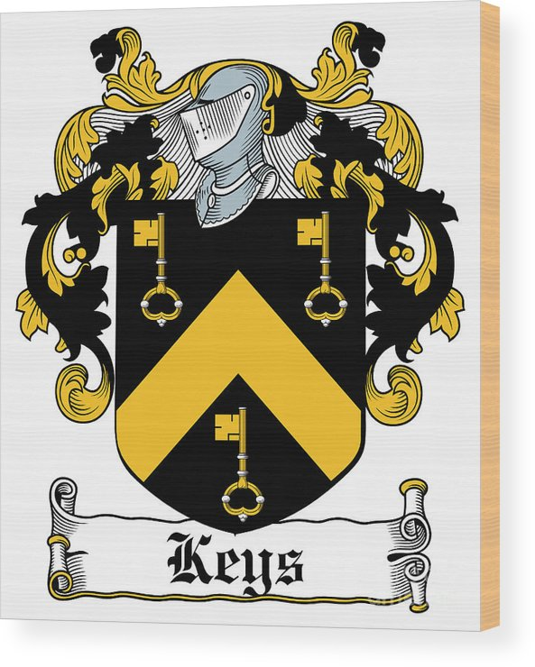 Keys Wood Print featuring the digital art Keys Coat Of Arms Irish by Heraldry