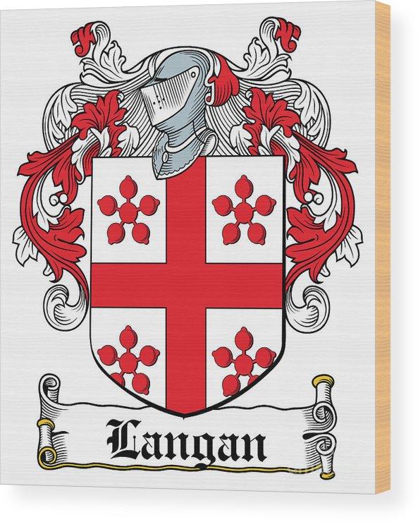 Langan Wood Print featuring the digital art Langan Coat Of Arms Irish by Heraldry