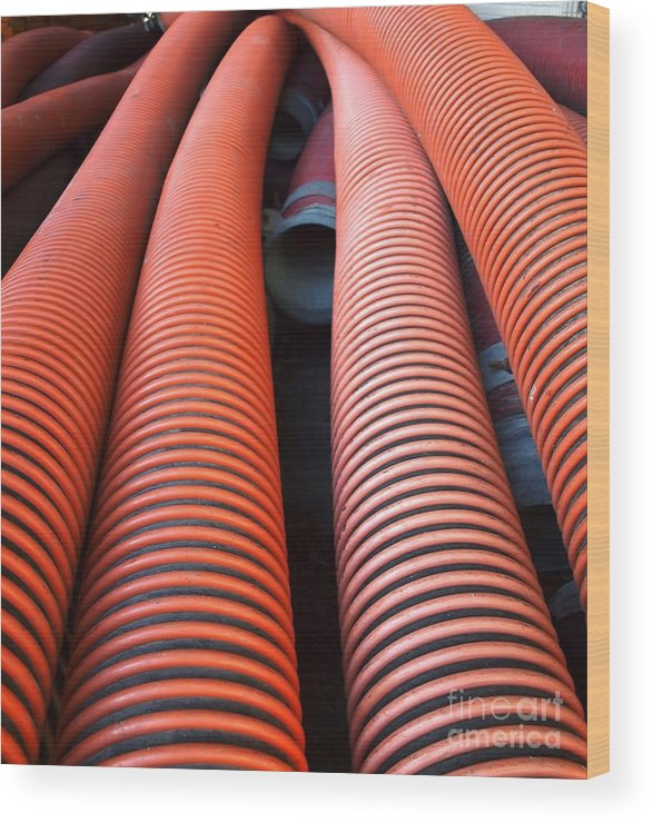 Pipes Wood Print featuring the photograph Large Sewage Pipes by Yali Shi