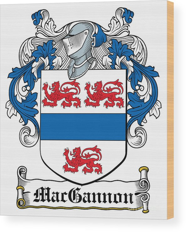 Macgannon Wood Print featuring the digital art Macgannon Coat Of Arms Irish by Heraldry