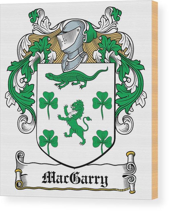 Macgarry Wood Print featuring the digital art Macgarry Coat Of Arms Irish by Heraldry