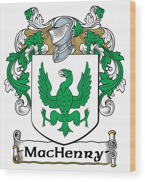 Machenry Wood Print featuring the digital art Machenry Coat Of Arms Ulster Ireland by Heraldry