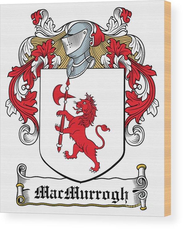 Macmurrogh Wood Print featuring the digital art Macmurrogh Coat Of Arms Carlow Ireland by Heraldry