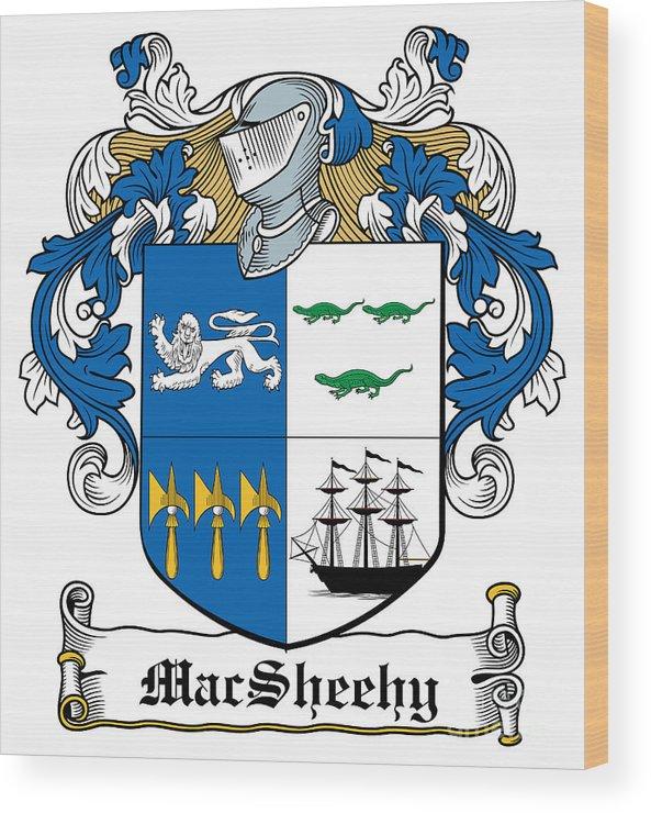 Macsheehy Wood Print featuring the digital art Macsheehy Coat Of Arms Irish by Heraldry