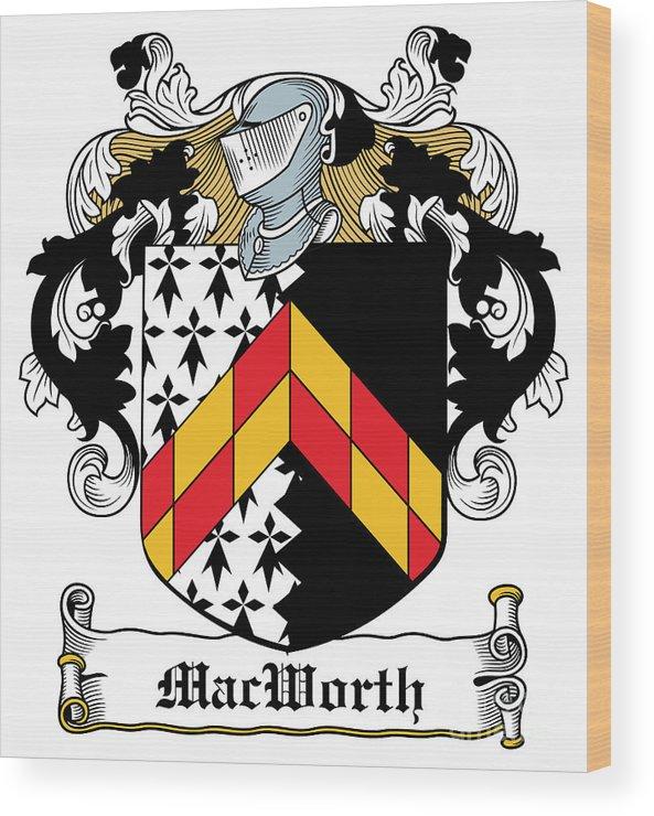 Macworth Wood Print featuring the digital art Macworth Coat Of Arms Irish by Heraldry