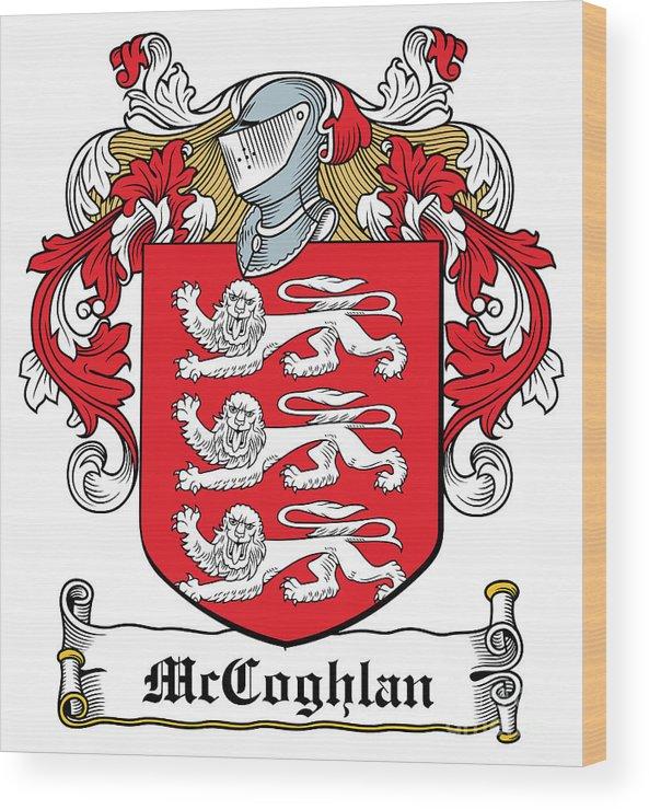Mccoghlan Wood Print featuring the digital art Mccoghlan Coat Of Arms Irish by Heraldry