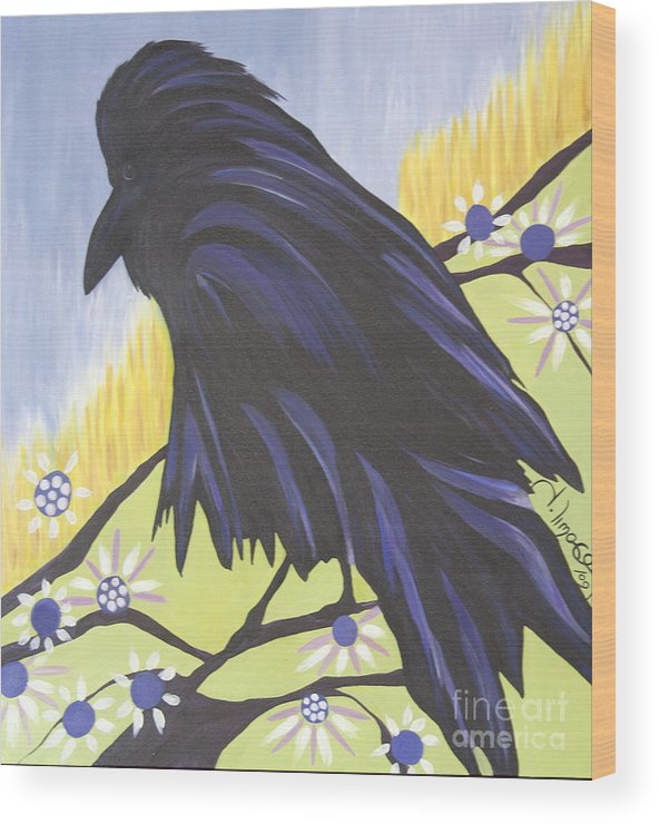 #raven Wood Print featuring the painting Reflection by Jacquelinemari