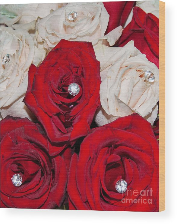 Roses And Diamonds Abstract Wood Print featuring the digital art Roses And Diamonds by Mae Wertz
