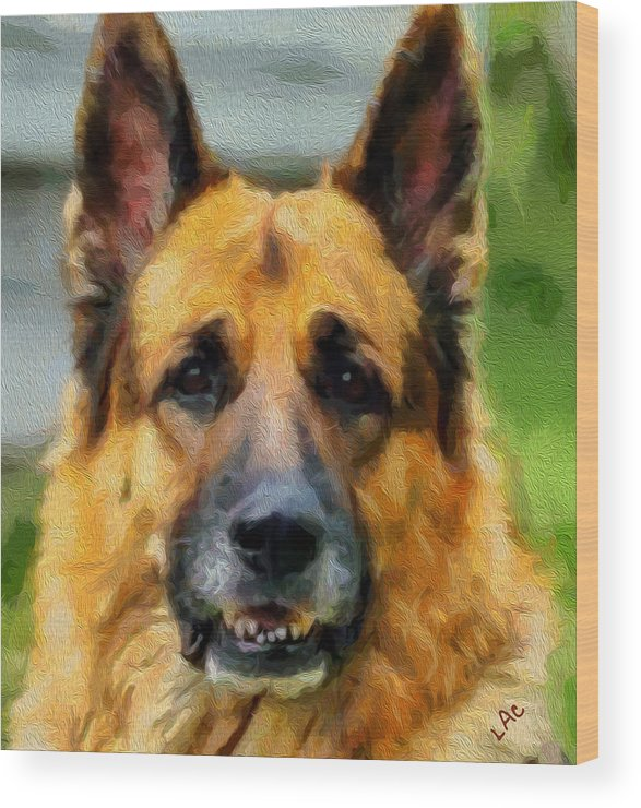 German Shepherd Wood Print featuring the painting Shep - German Shepherd by Laurence Canter