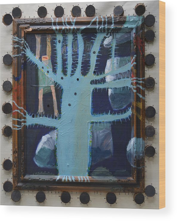 Abstract Modern Outsider Raw Folk Blue Tree Arms Legs Thorns Figure Limb Limbs Reaching Holes Clouds Kids Bare Feet Barefooted Ouch Mouth Problems Fun Humorous Composition Cool Wood Print featuring the painting Sticker Tree - Framed by Nancy Mauerman