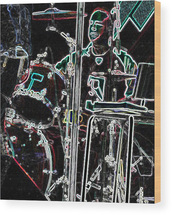 Gallery Art Wood Print featuring the photograph Drummer by David Alvarez