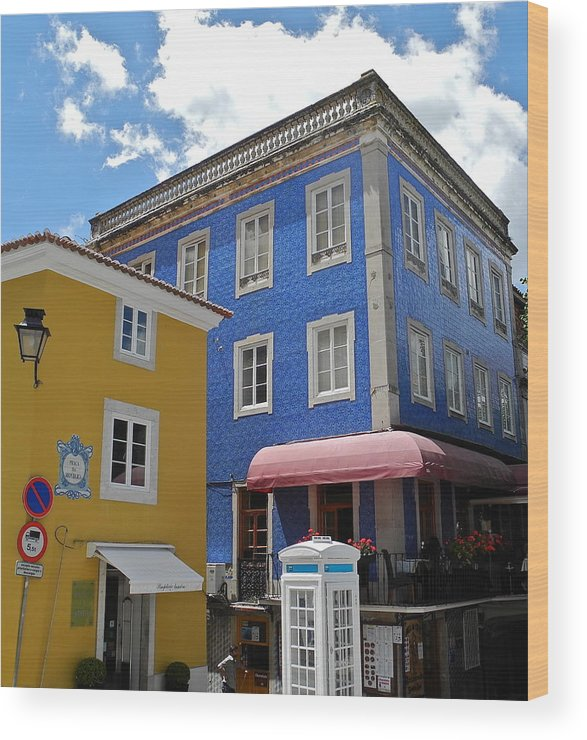 Blue Tile And Yellow Stucco Buildings Wood Print featuring the photograph Sintra Portugal Buildings by Kirsten Giving