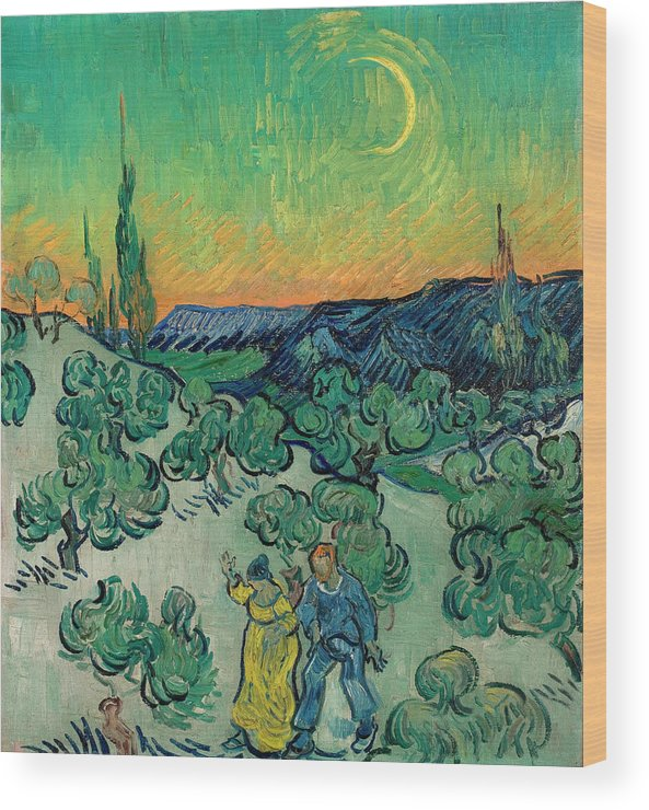 Evening Wood Print featuring the painting A Walk At Twilight by Vincent van Gogh