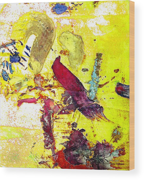 Bird Wood Print featuring the photograph Abstract Bird On Yellow by Lawrence Costales
