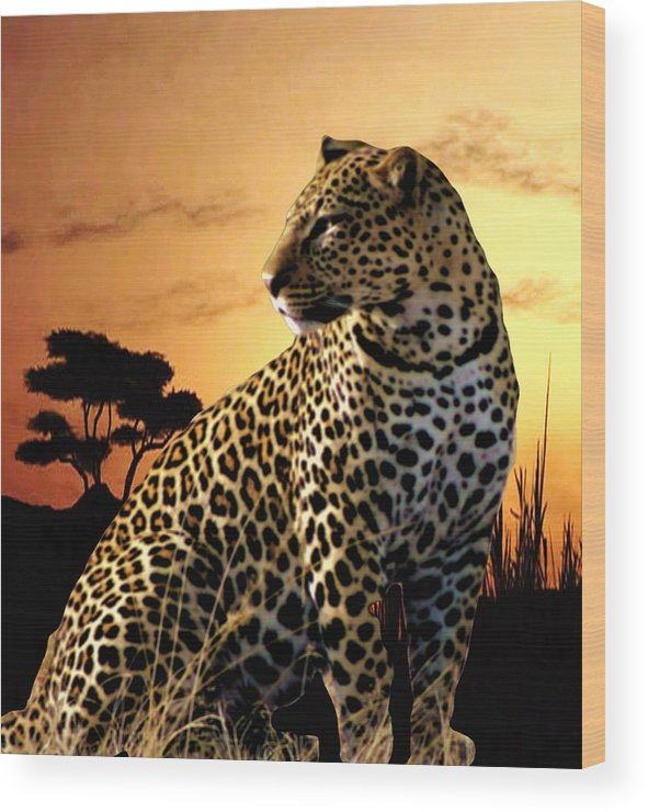 Leopard Wood Print featuring the photograph Alert To Danger by Mike Henniger Marilyn Alexander