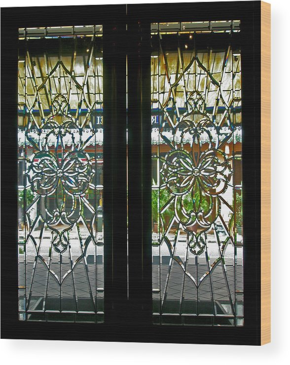 Antique Lead Glass Doors Wood Print By Mark Sellers