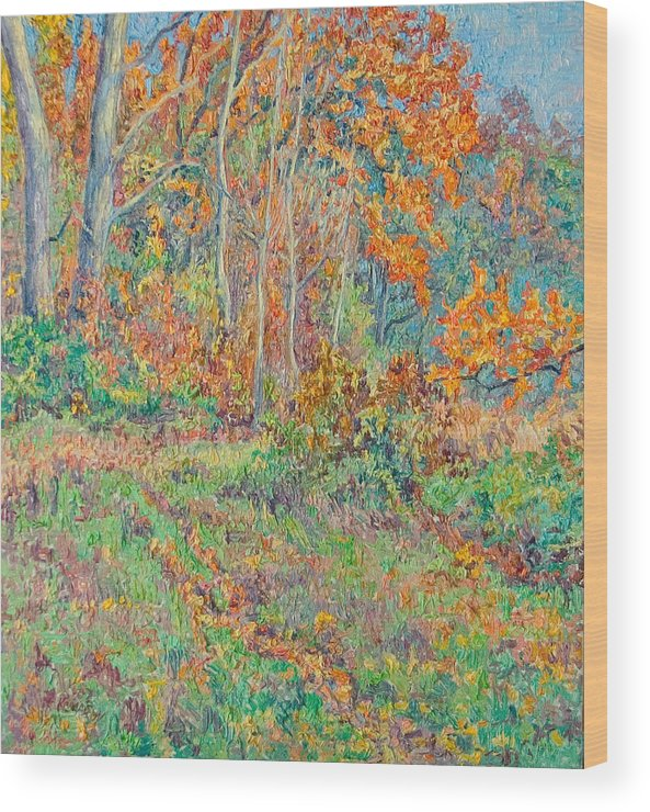 Autumn Wood Print featuring the painting Autumn Forest Path by Vitali Komarov