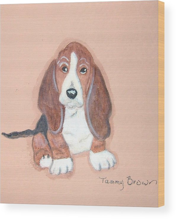 Basset Wood Print featuring the painting Baby Face by Tammy Brown