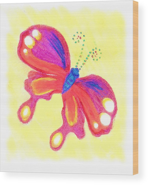 Single Butterly Wood Print featuring the pastel Butterfly by Chandelle Hazen