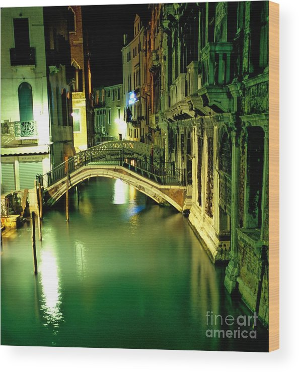 Venice Wood Print featuring the photograph Canal And Bridge In Venice At Night by Michael Henderson