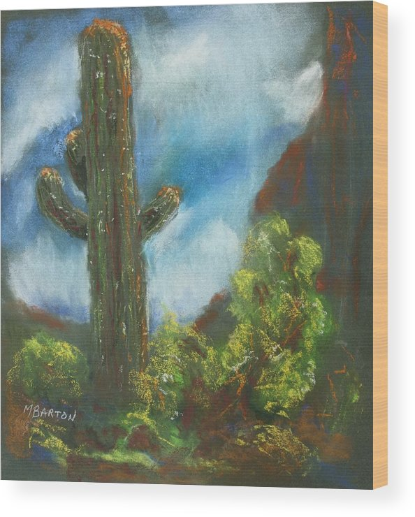 Cactus Wood Print featuring the painting Desert Sentinel by Marilyn Barton