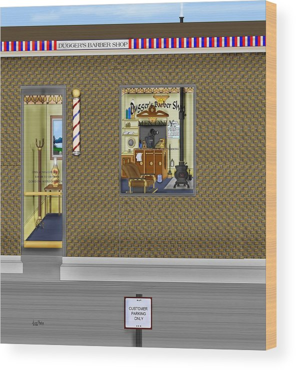 Townscape Wood Print featuring the painting Dugger's Barber Shop by Anne Norskog