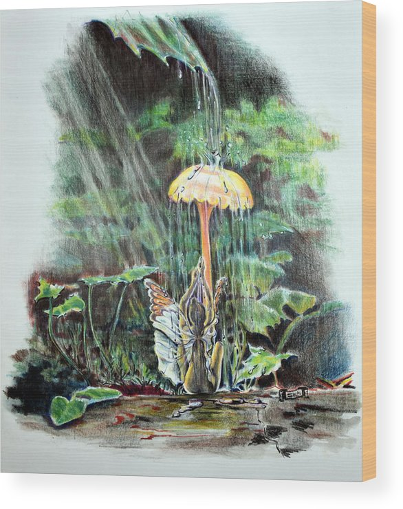 Fairy Wood Print featuring the drawing Fairy Shower by Susan Moore