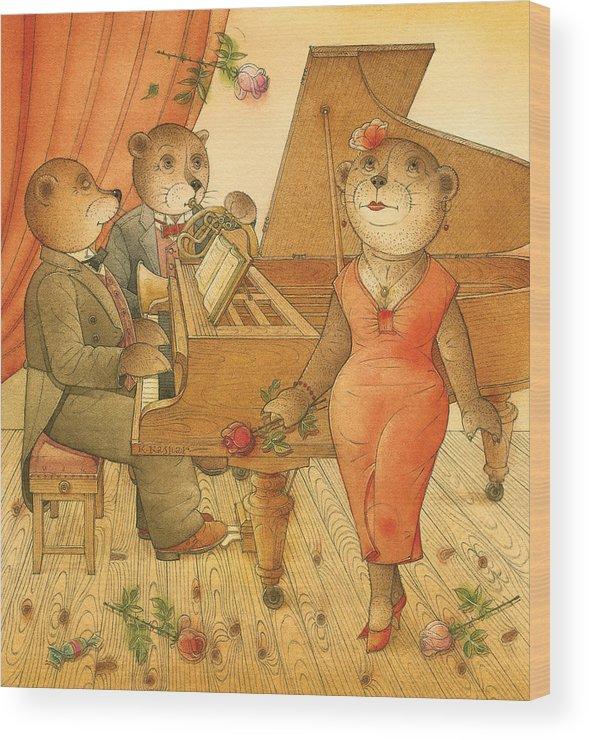 Music Bears Love Flowers Flirt Song Wood Print featuring the painting Florentius The Gardener03 by Kestutis Kasparavicius
