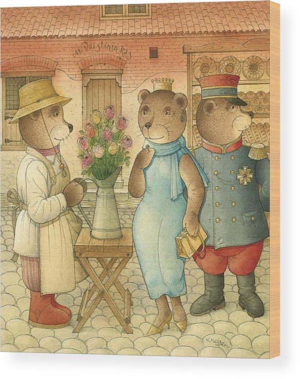 Bears Love Queen Flowers Roses Flirt Wood Print featuring the painting Florentius The Gardener09 by Kestutis Kasparavicius