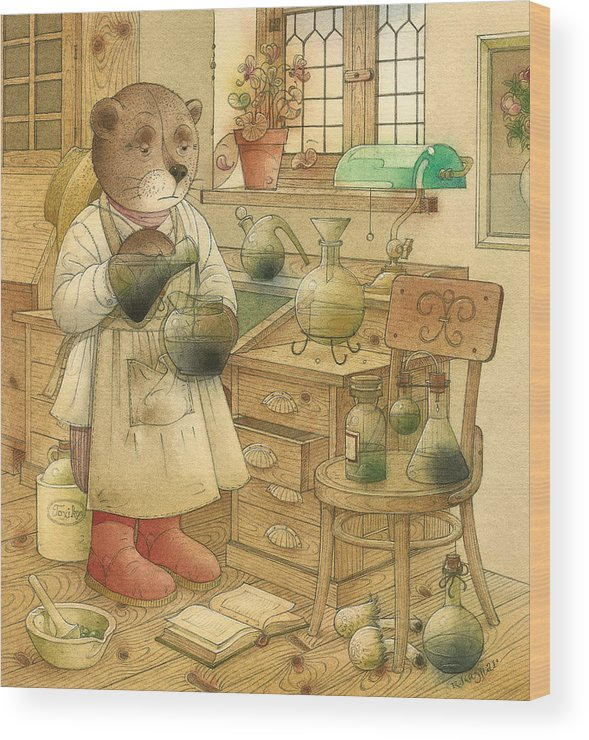 Bears Magic Glamour Brown Wood Print featuring the painting Florentius The Gardener18 by Kestutis Kasparavicius