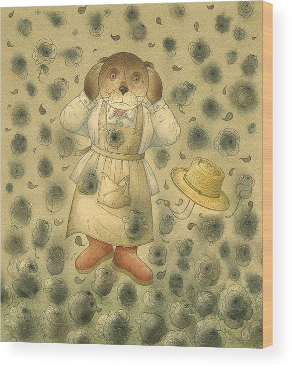 Bears Black Roses Dark Night Magic Horror Wood Print featuring the painting Florentius The Gardener21 by Kestutis Kasparavicius