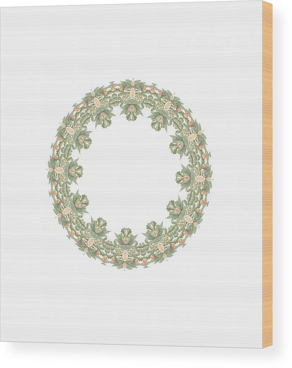 Becky Hayes Wood Print featuring the digital art Mandala/photoart Orange Flowers-2 by Becky Hayes