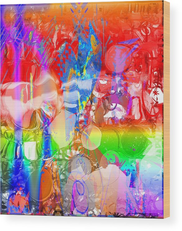 Red Blue Green Violet Abstract Wood Print featuring the digital art Red by Dave Kwinter