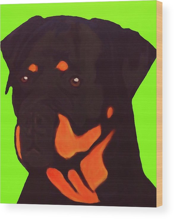Rottweiler Wood Print featuring the digital art Rottweiler With Green by Immaculate World