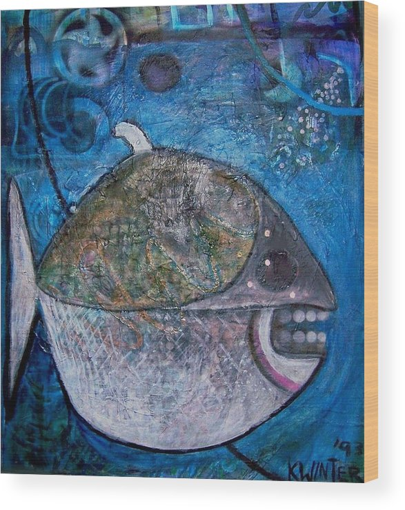 Fish Sea Marine Dentist Floss Wood Print featuring the mixed media Teeth by Dave Kwinter