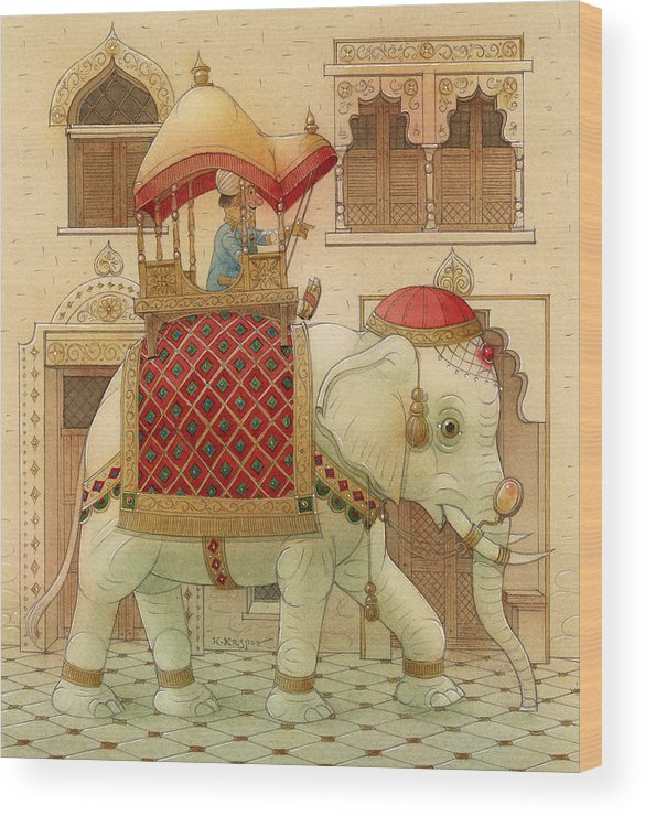 Elephant White Good Luck India King Succes Wood Print featuring the painting The White Elephant 01 by Kestutis Kasparavicius