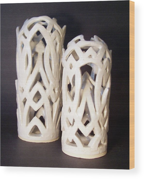 Clay Wood Print featuring the sculpture White Interlaced Sculptures by Carolyn Coffey Wallace