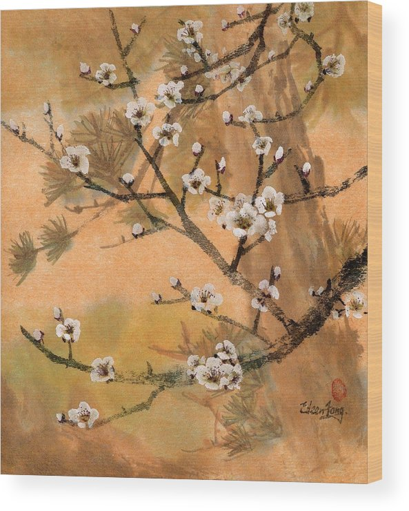 White Plum Blossoms Wood Print featuring the painting White Plum Blossoms With Pine Tree by Eileen Fong