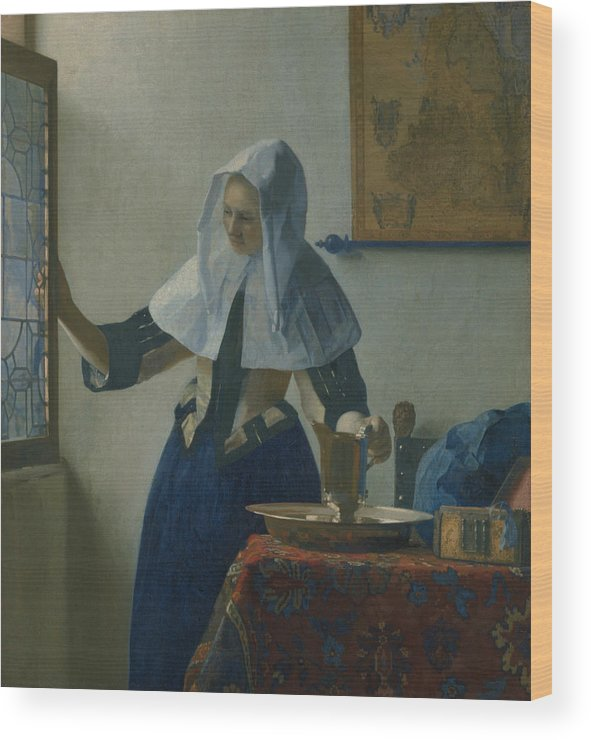 Jan Vermeer Wood Print featuring the painting Young Woman With A Water Pitcher by Jan Vermeer