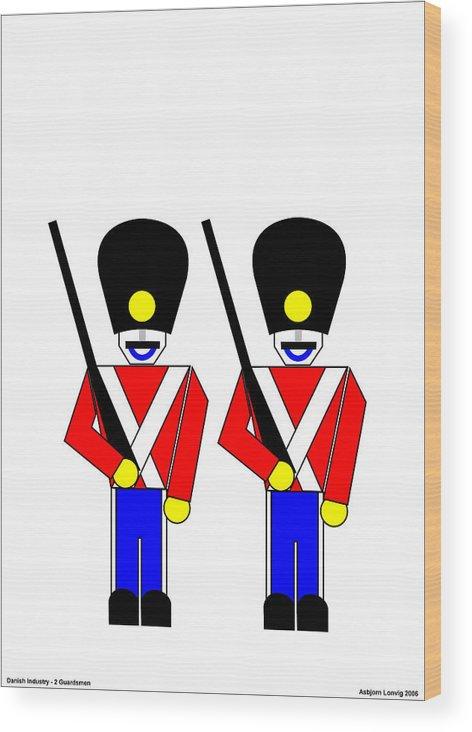 Wood Print featuring the digital art 2 Guardsmen by Asbjorn Lonvig