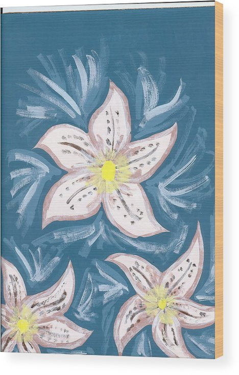 Flower Wood Print featuring the painting Becky by Laura Lillo