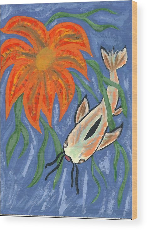 Flower Wood Print featuring the painting Belize by Laura Lillo
