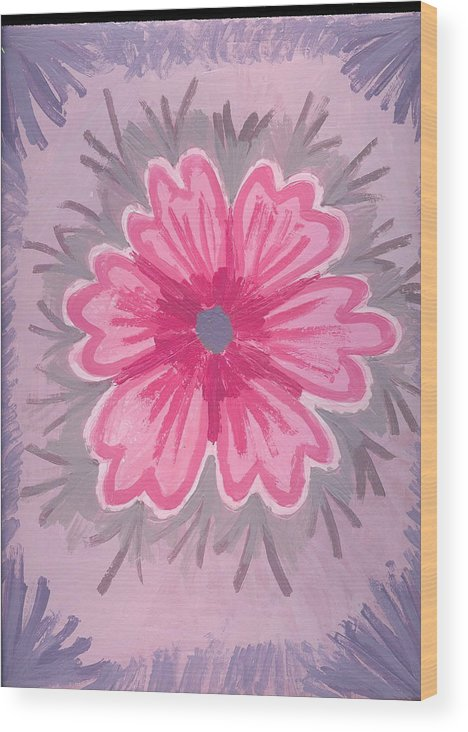 Flower Wood Print featuring the painting Bubblegum by Laura Lillo