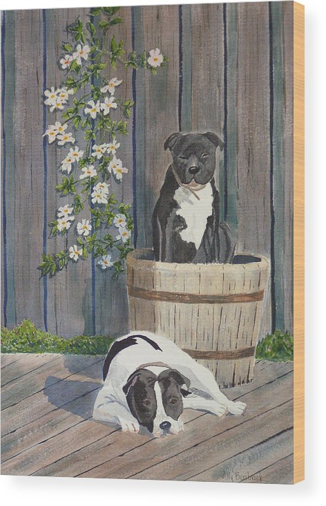 Dog Wood Print featuring the painting Devilish Duo At Rest by Ally Benbrook