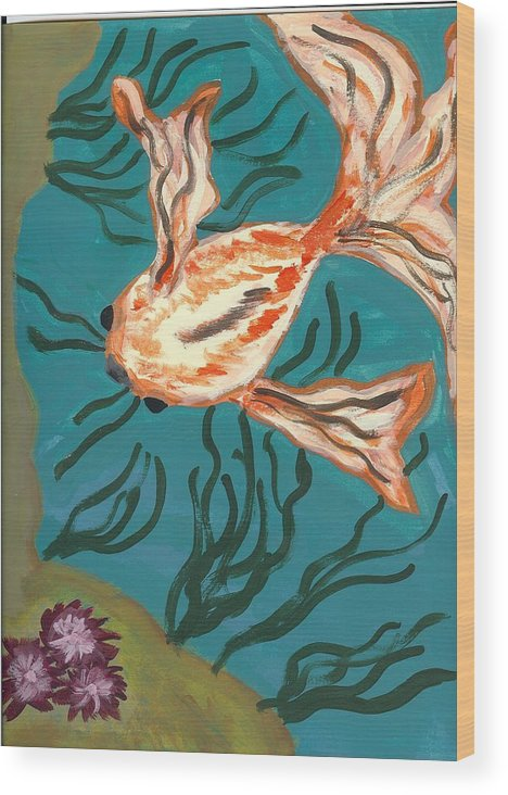 Fish Wood Print featuring the painting Here Fishy Fishy by Laura Lillo