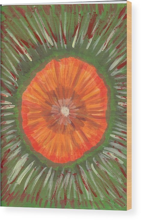 Flower Wood Print featuring the painting In The Middle Of It All by Laura Lillo