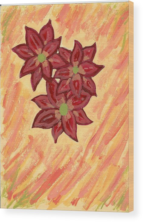 Flower Wood Print featuring the painting Kelli by Laura Lillo