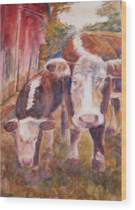 Cows Wood Print featuring the painting Mother And Child by Joyce Kanyuk