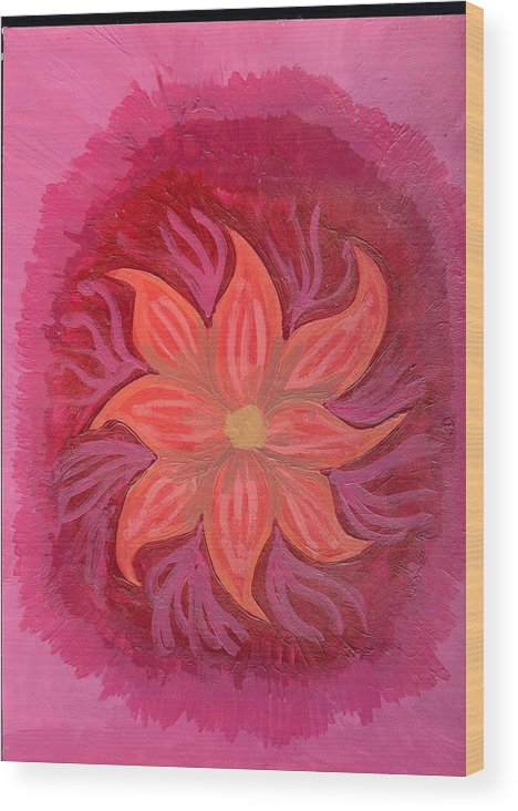 Flower Wood Print featuring the painting Pink Fusion by Laura Lillo