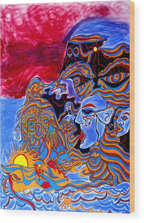 Abstract Wood Print featuring the print Shaman Of The Red Sky by William Watson